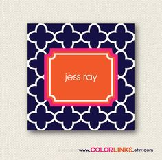 calling cards / business cards / mommy cards / gift enclosure cards/ gift tags/ personalized or monogrammed quatrefoil via Etsy