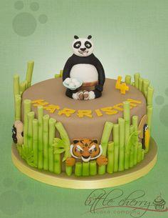 Kung Fu Panda Cake Little Cherry Cake Company Kung Fu Panda Cake, Panda Cakes, Panda Birthday Cake, 3rd Birthday Cakes, Bolo Panda, Panda Food, Jungle Cake, Panda Party, Star Wars Cake