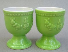 Laura Secord Canada Egg Cup Holder Set of 2 Easter Bunny Rabbit Embossed Green 2009