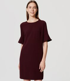 Textured Bell Sleeve Dress | LOFT