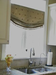 A pretty bathroom with old world style is about to get a window treatment called an Empire Valance. The Empire Valance has folded swag pa. Drapes And Blinds, Roman Curtains, Burlap Curtains, Roman Blinds, Drapery, Kitchen Window Coverings, Kitchen Curtains, Kitchen Windows, Kitchen Shades