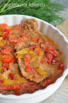 niebo na talerzu: Schab duszony w papryce Polish Recipes, Polish Food, Ratatouille, Main Dishes, Pork, Veggies, Yummy Food, Meals, Dinner