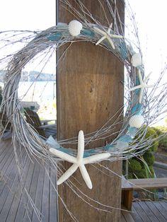 BEACH DECOR SEAGLASS wreath in driftwood-toned spiral, nautical decor, beach glass.