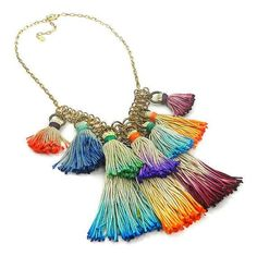 Colorful Ombre Tassel Bib Necklace Tassel by osofreejewellery