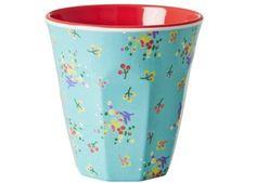 magnifique tasse bicolore 'fleurs' en mélamine