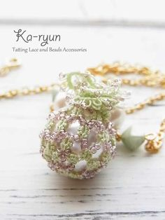 What a lovely gift pendant these would make, with matching earrings. Bead-Tatted Ruffled bauble ball pendant «Ka-ryun ~ Tatting of accessories. ©️Ka-ryun.