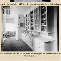 Circa 1920's butlers pantry from the White House. I want the sliding doors but can't find anything like them anywhere!!! This is what I want my kitchen to look like!