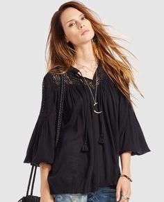 Blusa de mujer Denim & Supply Ralph Lauren negra con bordado