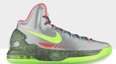 Kevin durant shoes 2013 KD V Metallic Wolf Grey Fluorescent Green half off Kevin Durant Shoes, Nike Shoes, Sneakers Nike, Nike Free, Kicks, Grey, Wolf, Metallic, Style