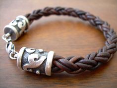 Braided Mens Leather Bracelet with Rhodium Plate Caps and Clasp -Natural Antique Brown- NO CHARGE SHIPPING. $36.99, via Etsy.