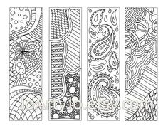Zendoodle Bookmarks DIY, Zentangle Inspired Printable Coloring, Digital Download, Sheet 9 via Etsy