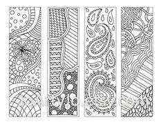 Zendoodle Bookmarks DIY, Zentangle Inspired Printable Coloring, Digital Download, Sheet 9 via Etsy