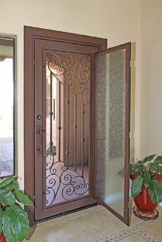 Glass door opens to expose wrought iron security door to allow fresh air in Door Gate Design, Wooden Door Design, Main Door Design, Front Door Design, Steel Gate Design, Metal Screen Doors, Wrought Iron Doors, Iron Front Door, Window Grill Design