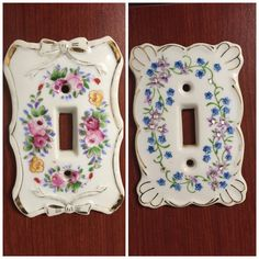 2 Vintage Salvaged Porcelain Light Switch Covers by LosChapines