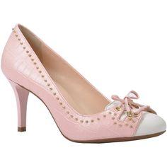 Pump de couro croco linea cotton pink com detalhes em couro liso no mesmo tom e na cor branca - Jorge Bischoff