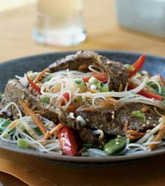 Rice Noodles with Sesame-Ginger Flank Steak. Good; would make again.