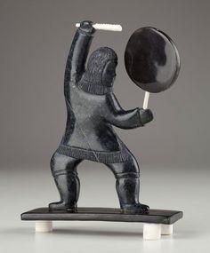 Silhouette of a Drumdancer by Marius Kayotak, Inuit artist (N21157)