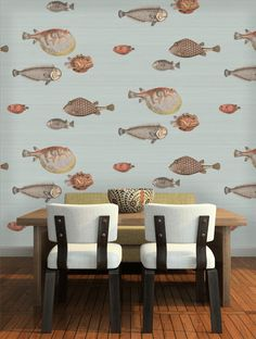 Buy Acquario in Soft Aqua, a feature wallpaper from Cole and Son, featured in the Fornasetti Senza Tempo collection from Fashion Wallpaper. Cole And Son Wallpaper, Fish Wallpaper, Feature Wallpaper, Beach Wallpaper, Bathroom Wallpaper, Dining Room Design, Dining Area, Dining Rooms, Beach Kitchens