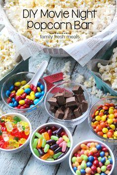 DIY Movie Night Popcorn Bar Slumber party ideas decorations games , crafts and activities.