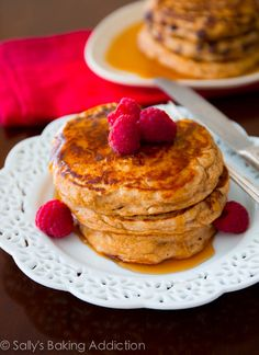 Healthy Whole Wheat Oatmeal Pancakes. Soft, wholesome pancakes made with simple ingredients | sallysbakingaddiction.com @Sally [Sally's Baking Addiction]