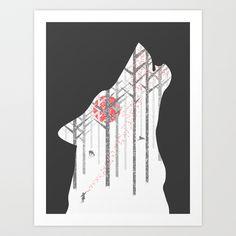Winter Wolf Art Print by Adil Siddiqui (addu) - $15.00