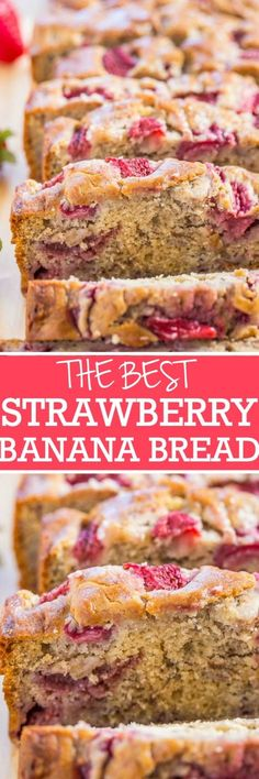 The Best Strawberry Banana Bread - Super soft, moist bread with tons of juicy strawberries! Easy, no-mixer recipe, and THE BEST use for ripe bananas!!
