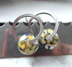 Lampwork Earrings Glass Hoop Earrings Handmade by CandanImrak