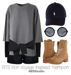 BTS Bon Voyage Inspired: Namjoon by btsoutfits on Polyvore featuring moda, adidas Originals, Le Ciel Bleu, Boohoo, Frye and Quay