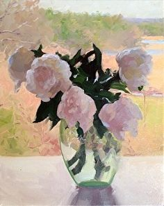 Peonies with Landscape by Dennis Perrin in the FASO Daily Art Show