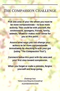 """The Compassion Challenge from """"Active Love Requires Everything"""" - pick one area of life you want to make more compassionate. Use the Compassion Test from the blog post to check what actions to take. Comment and let us know what you plan to do! Click to get the test and more, or pin for later!"""