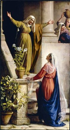 """Mary's Visit To Elizabeth"" - ""When Elisabeth heard the salutation of Mary, the babe leaped in her womb; and Elisabeth was filled with the Holy Ghost: And she … said, Blessed art thou among women, and blessed is the fruit of thy womb."" Paintings of the life of Jesus Christ - Carl Heinrich Bloch"