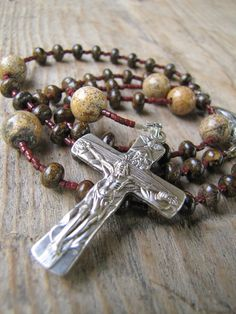 Rosary from Bronzite stone and Japser rosaries by RosaryDivine, $34.00