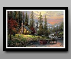 Thomas Kinkade A Peaceful Retreat painting for sale - Thomas Kinkade A Peaceful Retreat is handmade art reproduction; You can buy Thomas Kinkade A Peaceful Retreat painting on canvas or frame. Wall Art Pictures, Canvas Pictures, Mosaic Pictures, Oil Painting On Canvas, Diy Painting, Lake Painting, Painting Prints, Painting Wallpaper, Wallpaper Desktop