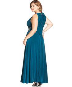 R&M Richards Plus Size Sleeveless Beaded Gown | macys.com ...