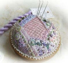 This darling, heirloom pincushion kit was created for those who would like to try their hand at crazy patchwork but who would like to start with a