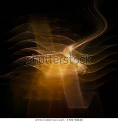 Golden power waves on black, abstract fractal 3D illustration at my Shutterstock portfolio #fractal #fractalart #waves #golden #black #abstract #wallpaper #background #shutterstock #3d #illustration