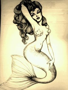 Mermaid pin-up. Thinking about this for my calf tattoo. With blonde hair and maybe a bit more happy with color.