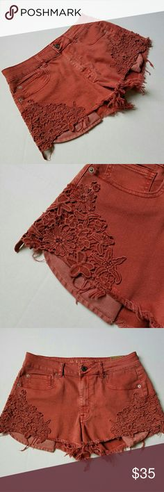 Hi-Rise Festival Short Shorts w/ Lace Detailing New with tags high-rise festival short shorts in shade ravish rust with lace paneling on front and extending to the back. Size 10 stretchy shorts. Tag still present as seen in photo. Raw hem. Front pocket peek out from underneath shorts. 13 in long from top to inner hem. 15 in wide at waist. No rips. No stains. American Eagle Outfitters Shorts Jean Shorts