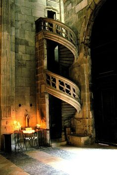 ARCHITECTURE – Spiral Staircase, Autun Cathedral, Bourgogne, France photo via rocio