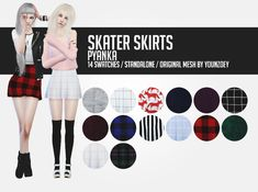 """pyanka: """" Skater skirts; I absolutely love the skirts by youn-zoey, but I felt like I needed some plaid ones, so here they are! You need to download the mesh so they show up in your game. I really..."""