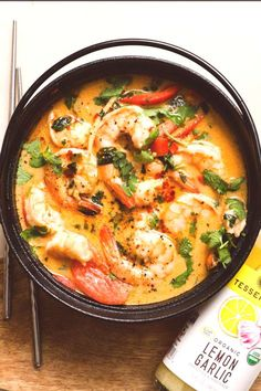 Add a little spice to your with our zesty Lemon Garlic, red curry, and juicy shrimp! This One Pot Thai Coconut Curry Shrimp is the… Shrimp Recipes, Fish Recipes, Asian Recipes, Healthy Recipes, Ethnic Recipes, Thai Curry Recipes, Whole30 Recipes, Coconut Curry Shrimp, Dining
