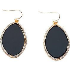 Complement a simple blouse or sweeping updo with these elegant gold-plated earrings, featuring black stones highlighted by shimmering crystal-like stones.