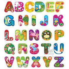 Alphabet Wall Stickers - Enchanted Forest by Bosco Bear Alphabet Letters Design, Alphabet Templates, Alphabet Wall, Alphabet For Kids, Alphabet And Numbers, Lettering Design, Hand Lettering, Abc Font, Flamingo Craft
