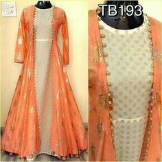 Dresses - Soft silk foil work jacket and chanderi inner with fancy latkans Size Length 58 Rs 3200 Indian Gowns Dresses, Indian Fashion Dresses, Indian Designer Outfits, Pakistani Dresses, Fashion Outfits, Dress Fashion, Indian Bridal Fashion, Indian Wedding Outfits, Indian Outfits