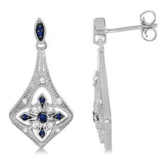 Allurez Blue Sapphire and Diamond Chandelier Earrings Sterling Silver... (3.853.950 IDR) ❤ liked on Polyvore featuring jewelry, earrings, dangle earrings, sterling silver earrings, long dangle earrings, blue sapphire earrings and bridal earrings