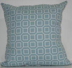 New 18x18 inch Designer Handmade Pillow Cases in blue and white geometric pattern. $20.00, via Etsy.