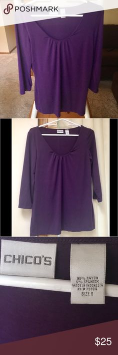 NEVER WORN Purple Chico's Scoop Neck Blouse Never worn, new without tags, excellent condition. This purple scoop neck blouse is simple yet stylish. It's a great basic for any wardrobe and goes with just about everything! Comfortable, chic and versatile. I would pair it with a black blazer, some skinny jeans and ankle boots. Great for work or a night out! Chico's Tops Blouses