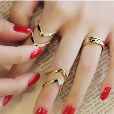 JZ016 3PCS/Set Urban Punk Golden stack Plain Cute Above Knuckle Ring Band Midi Rings for Women Men Party Accessories