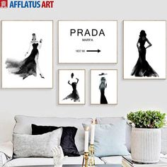 Watercolor Prada Girl Figure Wall Art Canvas Painting Nordic Posters And Prints Black White Wall Pictures For Living Room Decor. Teenage Girl Bedroom Decor, Girls Bedroom, Living Room Pictures, Wall Pictures, White Walls, Picture Wall, Living Room Decor, Prada, Gallery Wall