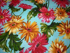 Designerstoffe USA - Michael Miller USA Stoff  Blumen  BW Gerbera GArde - ein Designerstück von Bibo-Laedchen bei DaWanda